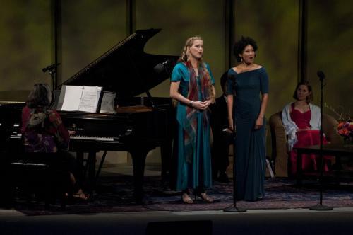 Katarzyna Sadej and Julia Bullock perform during the Ojai Music Festival at Libbey Bowl in Ojai, California.
